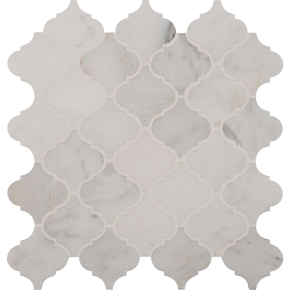MS International Marble Mosaics Arabesque Greecian White