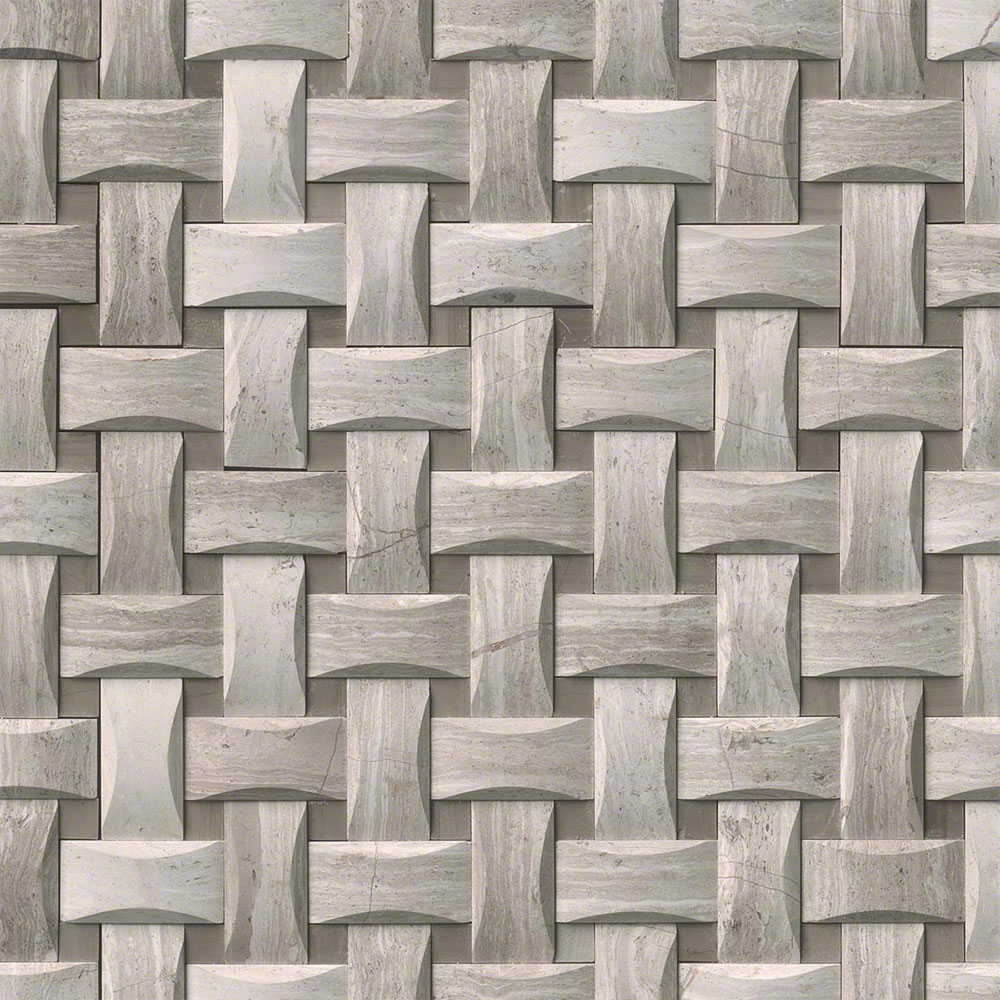 MS International Marble Mosaics Basketweave Honed White Oak Arched