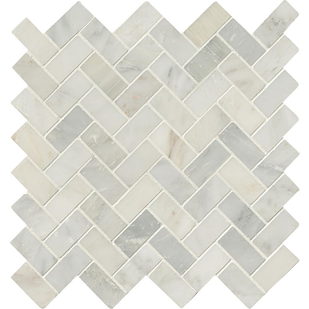 MS International Marble Mosaics Herringbone Honed Arabescato Carrara