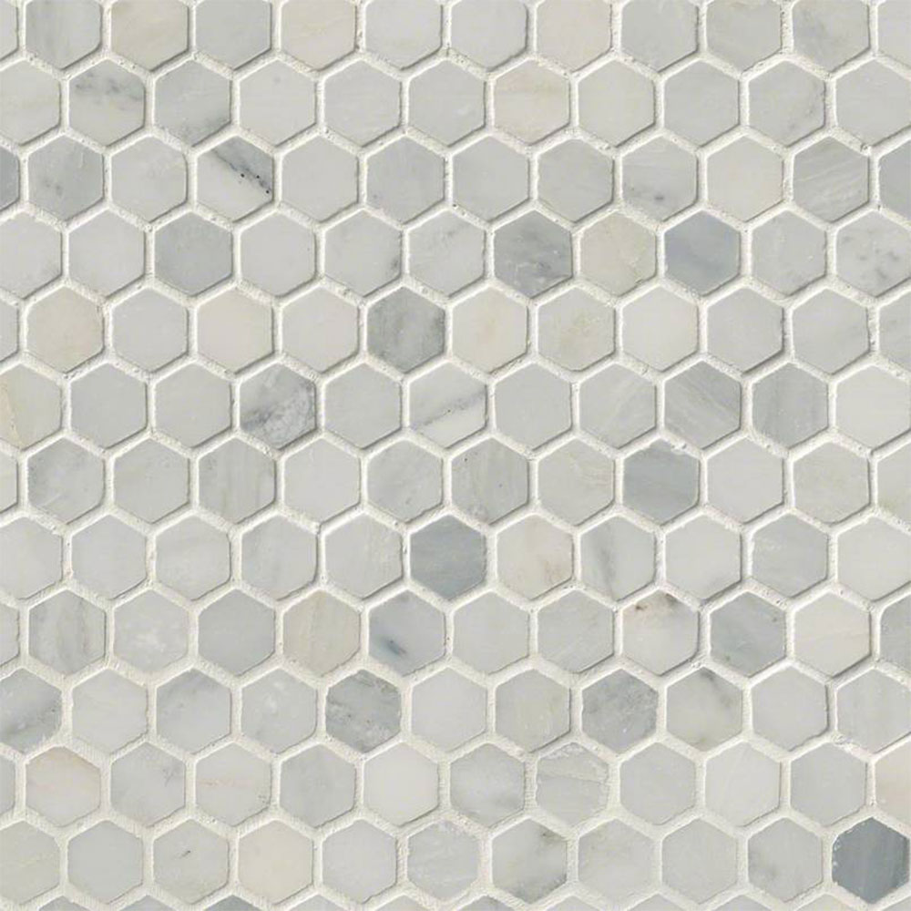 MS International Marble Mosaics Hexagon 1 X 1 Honed Arabescato Carrara