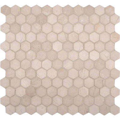 MS International Marble Mosaics Hexagon 1 X 1 Tumbled Crema Marfil