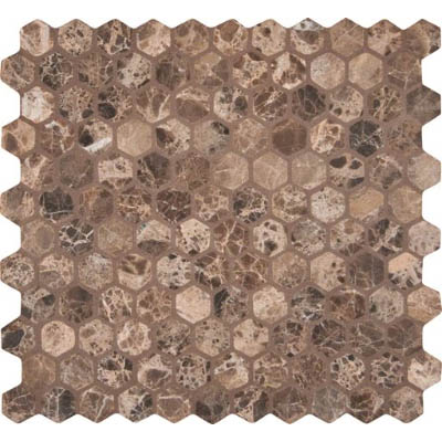 MS International Marble Mosaics Hexagon 1 X 1 Tumbled Emperador Dark