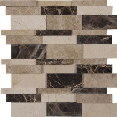 MS International Marble Mosaics 3D Interlocking Asteria Blend