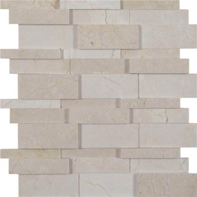 MS International Marble Mosaics 3D Interlocking Crema Marfil Hedron
