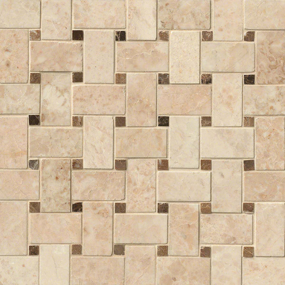 MS International Marble Mosaics Basketweave Polished Crema Cappuccino