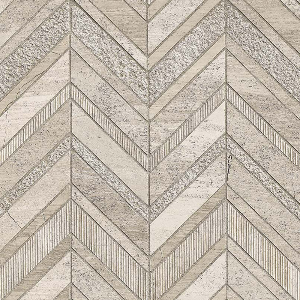 MS International Marble Mosaic Chevron White Quarry Chevron