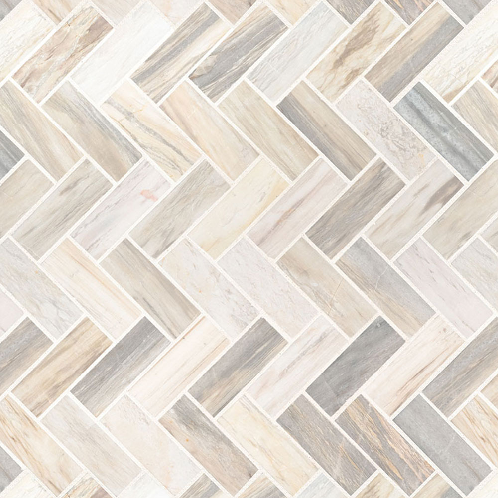 MS International Marble Mosaics Herringbone Polished Angora