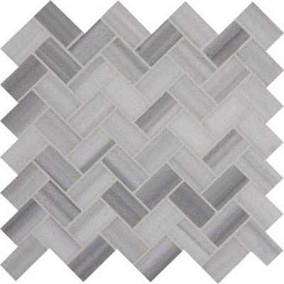 MS International Marble Mosaics Herringbone Polished Bergamo Polished