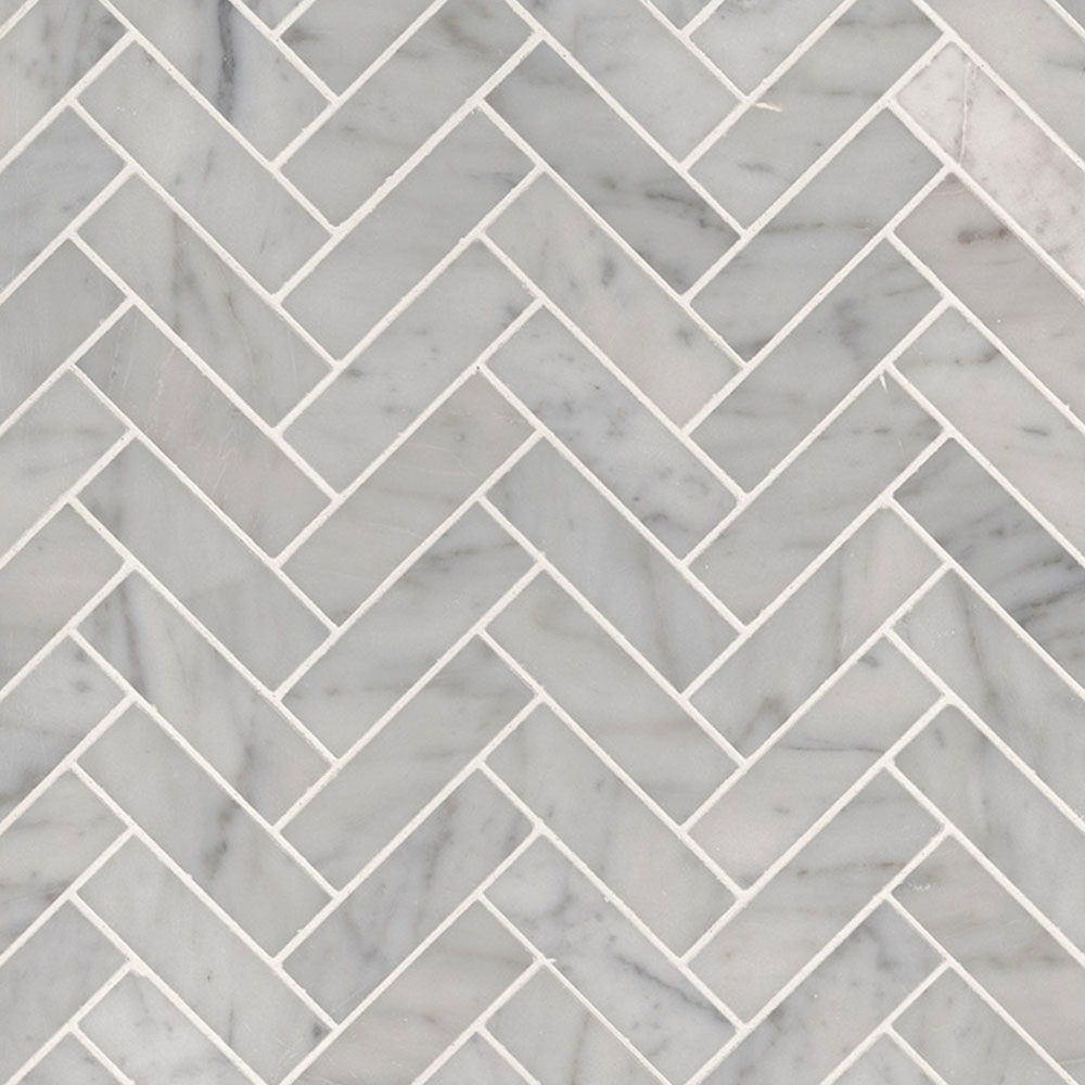 MS International Marble Mosaics Herringbone Polished Carrara White