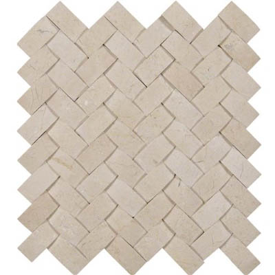 MS International Marble Mosaics Herringbone Polished Crema Marfil Polished