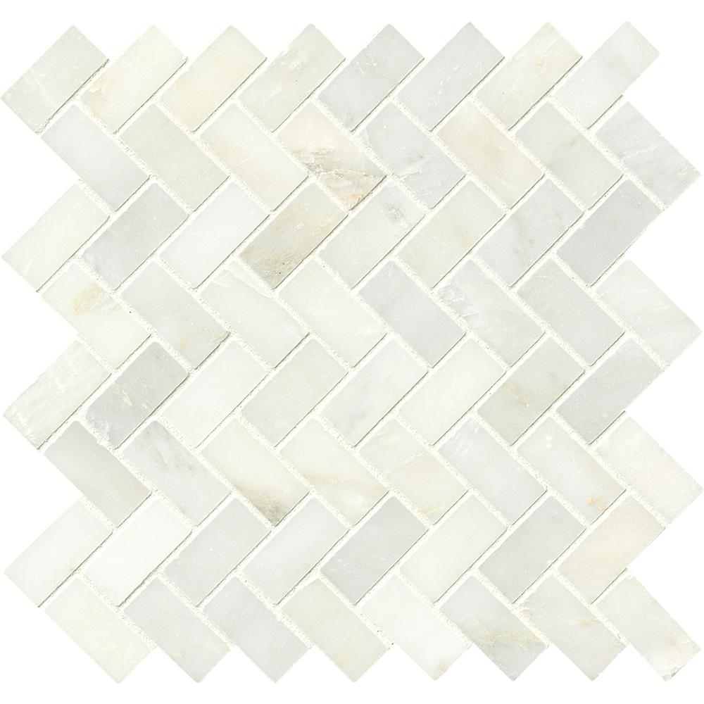 MS International Marble Mosaics Herringbone Polished Greecian White