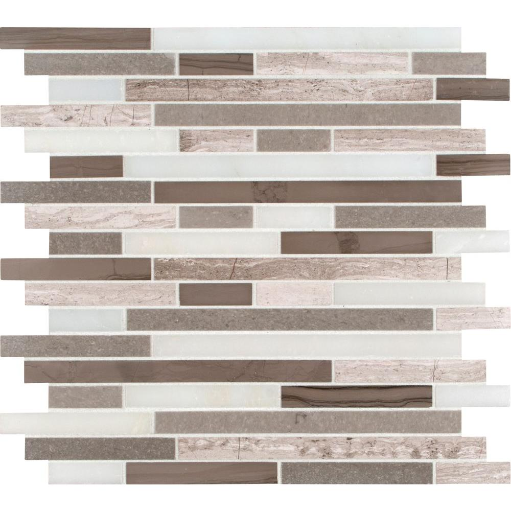 MS International Marble Mosaics Interlocking Honed Arctic Storm