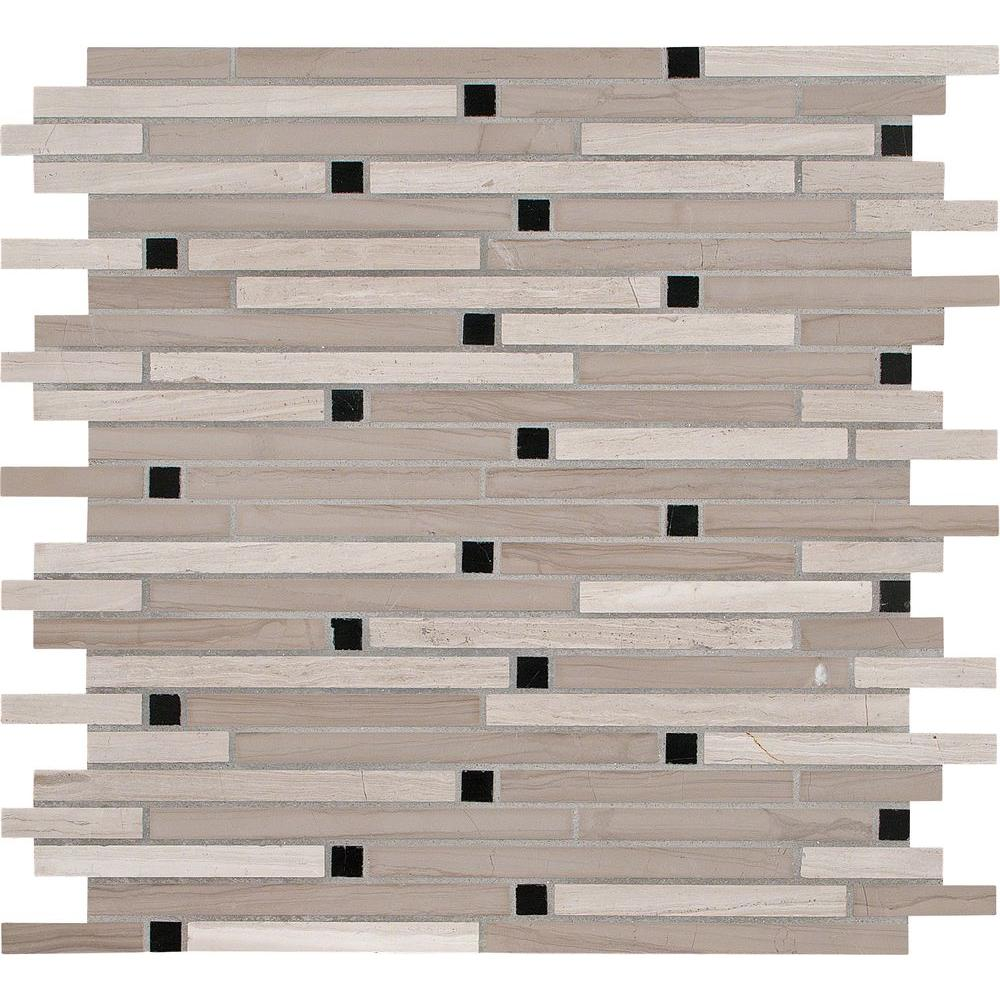MS International Marble Mosaics Interlocking Honed White Oak Blend
