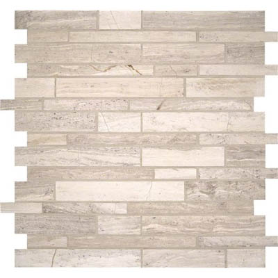MS International Marble Mosaics Interlocking Honed White Quarry