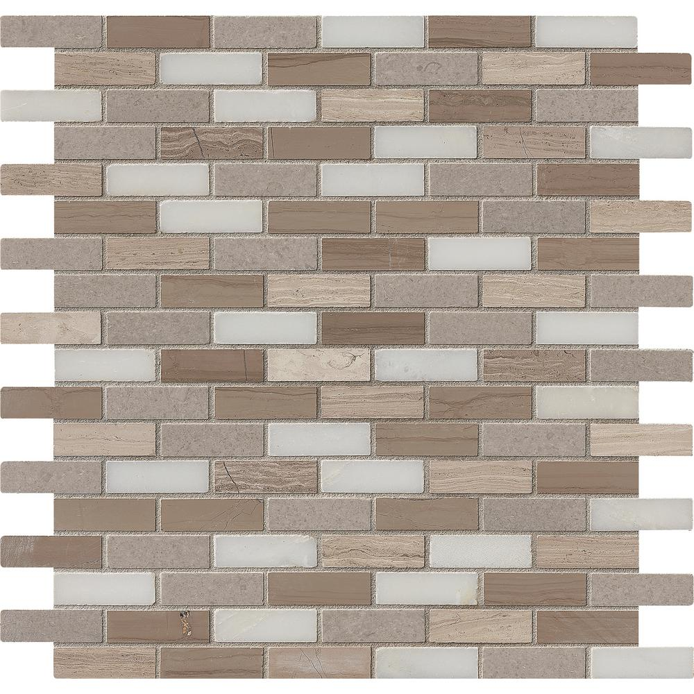 MS International Marble Mosaics Other Honed Arctic Storm Mini Brick