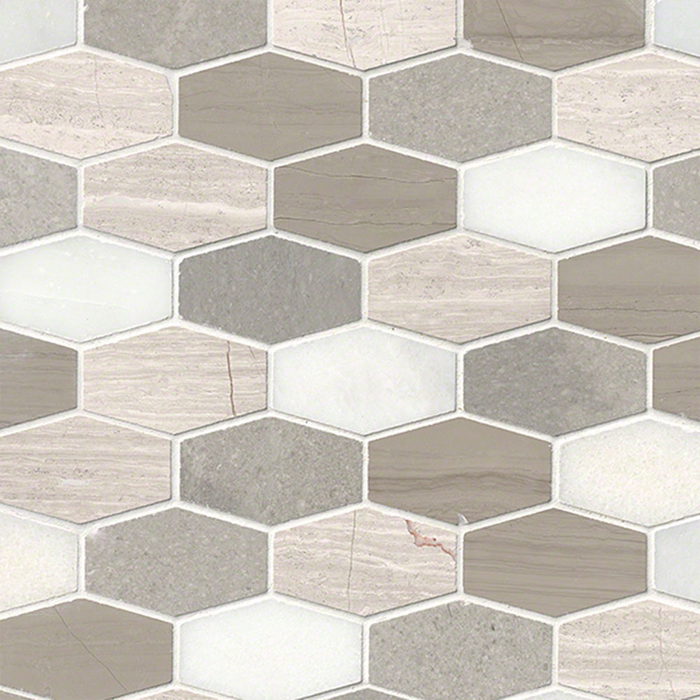 MS International Marble Mosaics Other Honed Bellagio Blend Elongated Hexagon
