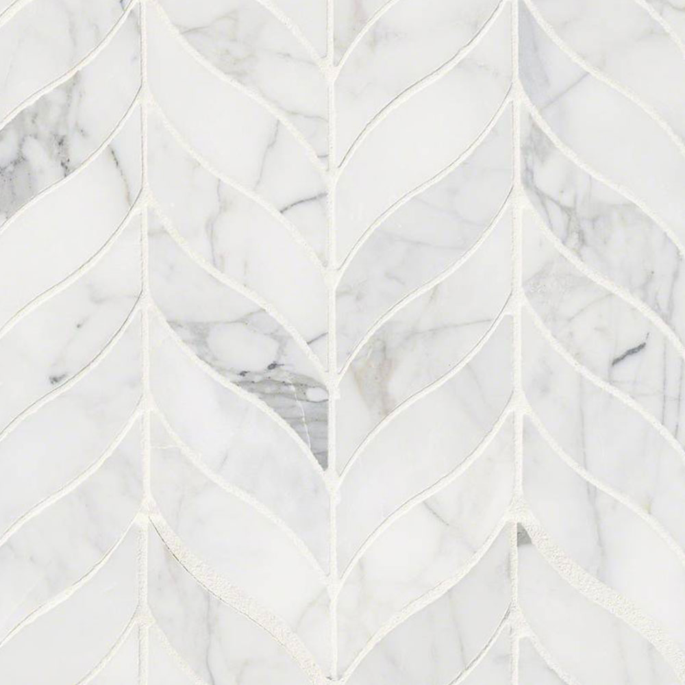 MS International Marble Mosaics Other Honed Calacatta Cressa Leaf Pattern