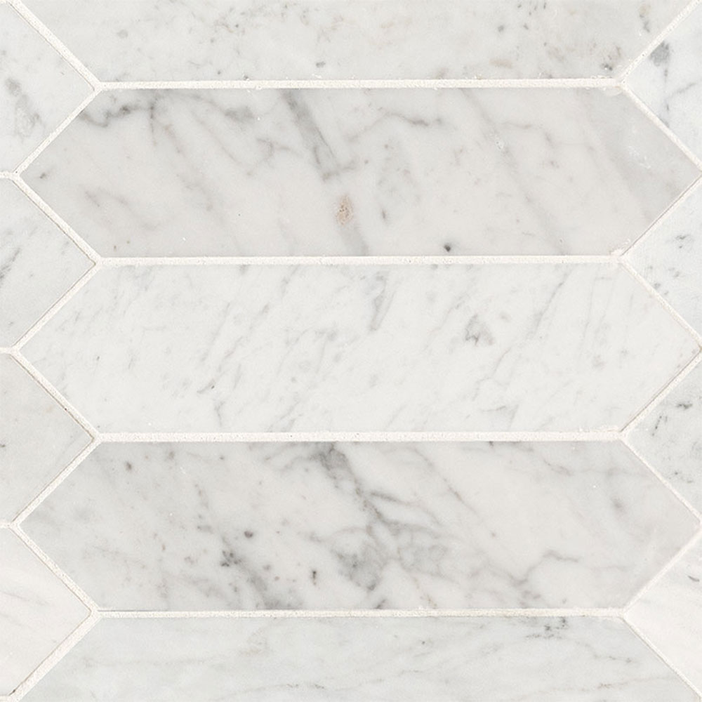 MS International Marble Mosaics Other Honed Carrara White Picket
