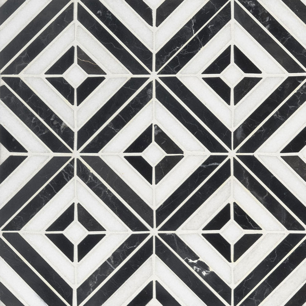 MS International Marble Mosaic Rhombix Nero