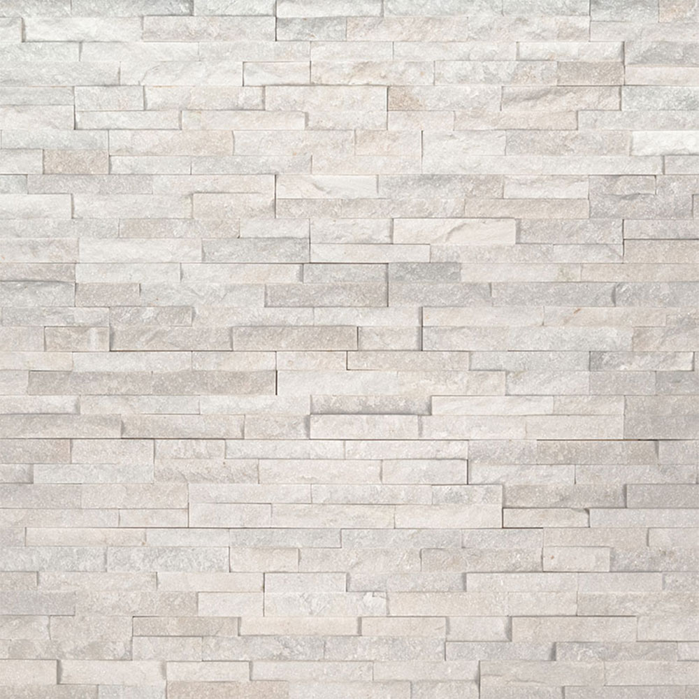 Exterior: MS International Mini Stacked Stone Panels Arctic White