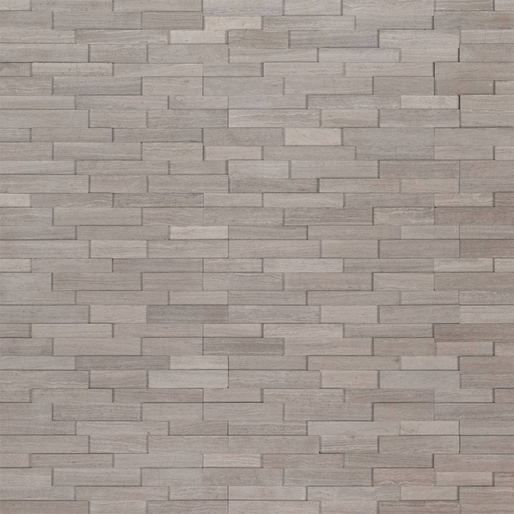 Exterior: MS International Mini Stacked Stone Panels Gray Oak