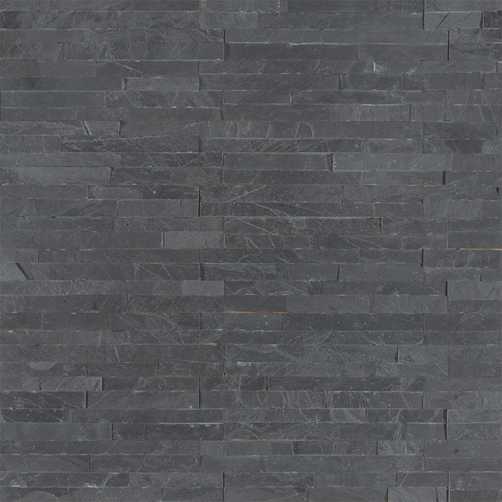 Exterior: MS International Mini Stacked Stone Panels Premium Black