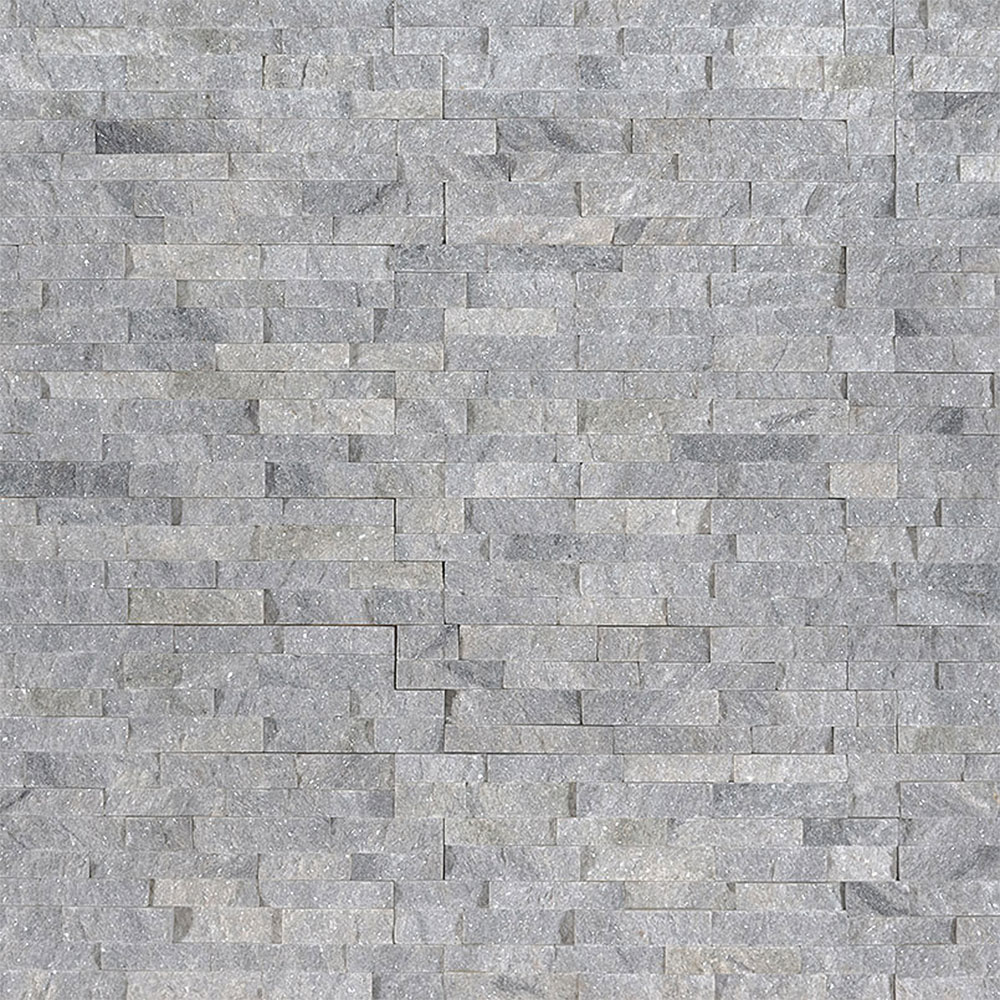 Exterior: MS International Mini Stacked Stone Panels Sky Gray
