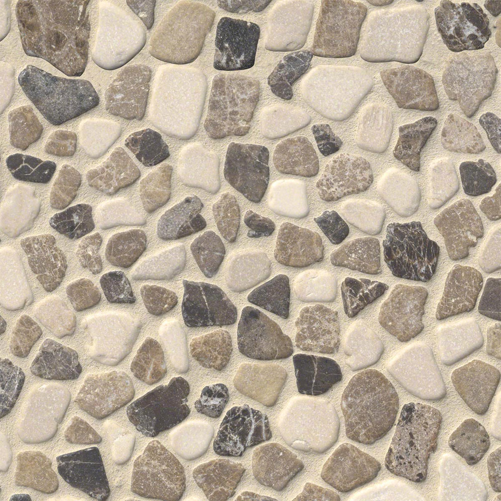 MS International Rio Lago Pebble Mosaics 12 X 12 Tumbled Mix Marble