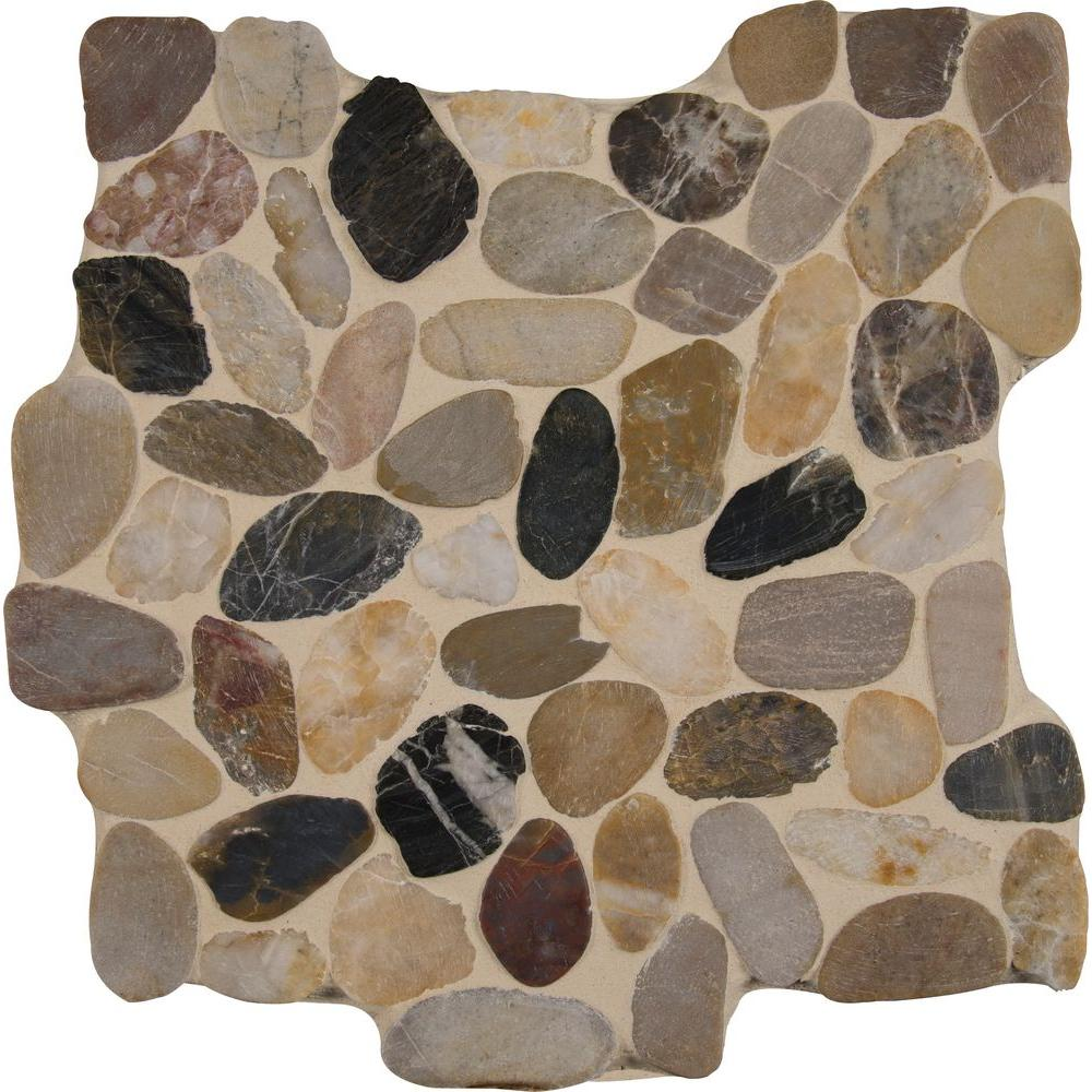 MS International Rio Lago Pebble Mosaics 12 X 12 Tumbled Mix River