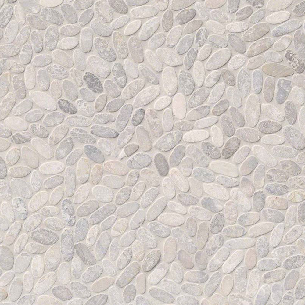 MS International Rio Lago Pebble Mosaics 12 X 12 Tumbled Sliced Pebble Ash