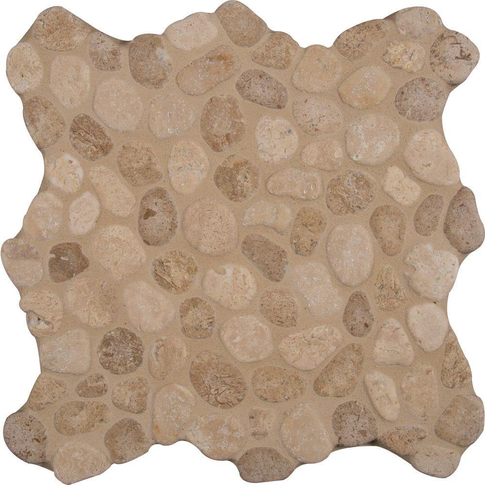 MS International Rio Lago Pebble Mosaics 12 X 12 Tumbled Travertine Blend