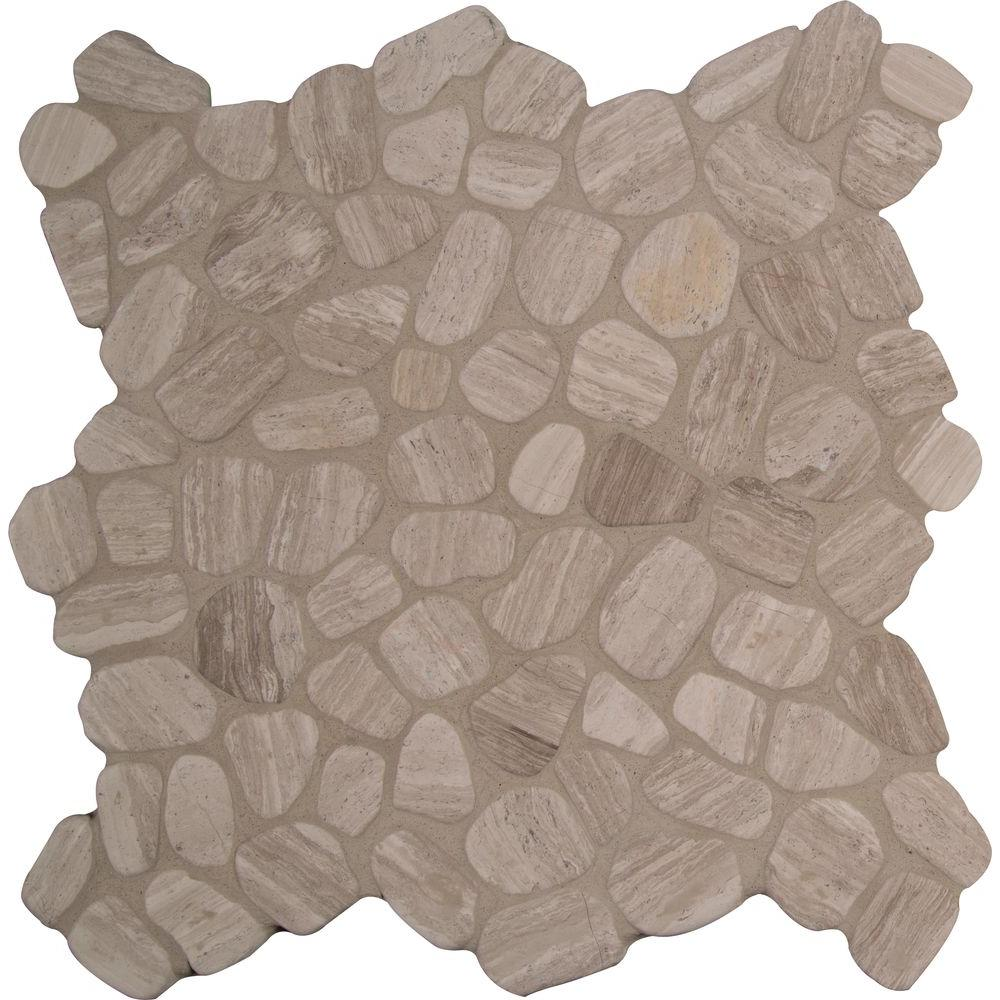 MS International Rio Lago Pebble Mosaics 12 X 12 Tumbled White Oak