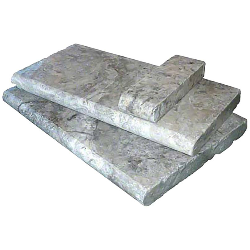 MS International Pool Copings 12 x 24 Honed Silver Travertine