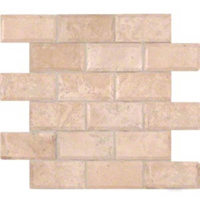 MS International Travertine Mosaic 2 X 4 Brick Honed Beveled Tuscany Ivory Honed