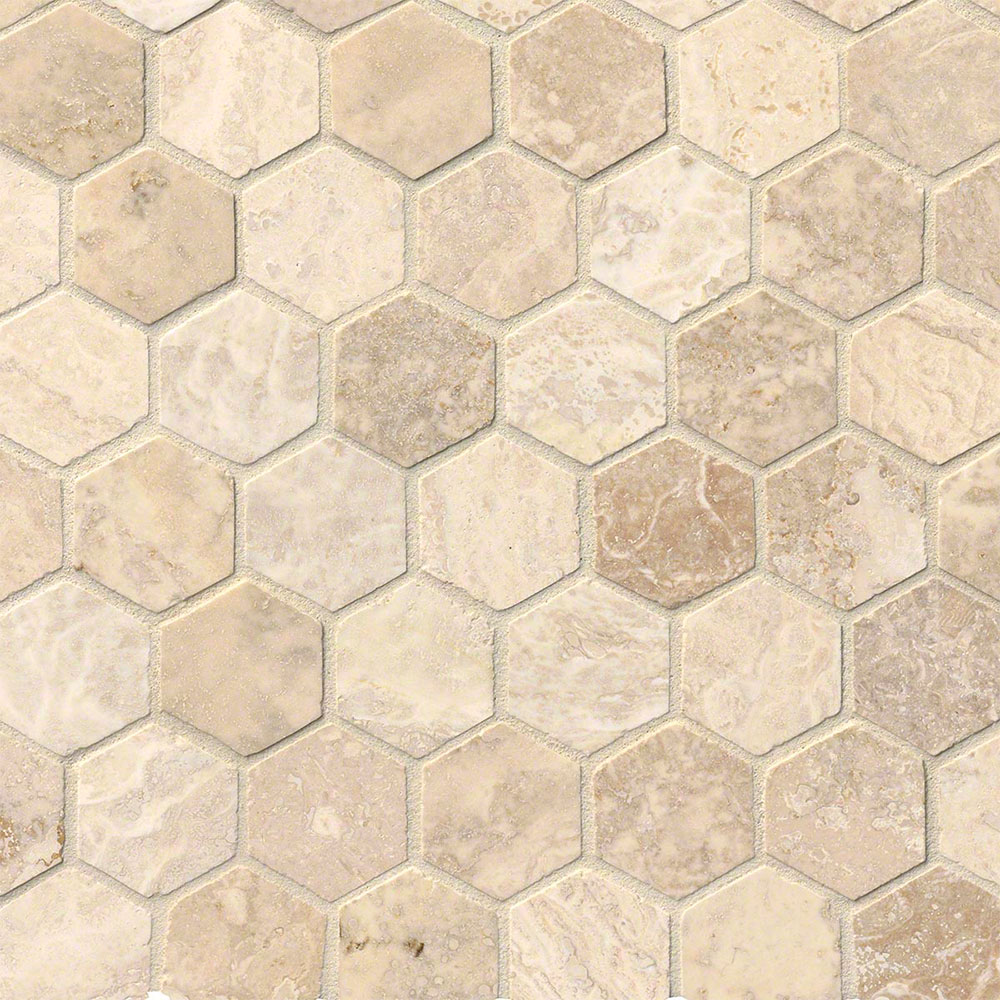 MS International Travertine Mosaic Hexagon Alabastrino