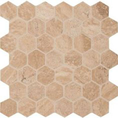 MS International Travertine Mosaic Hexagon Carmello