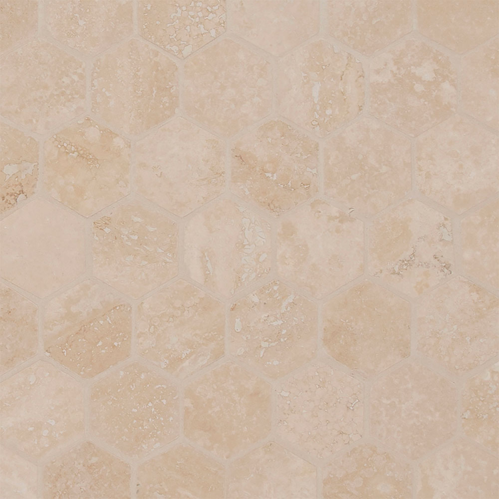 MS International Travertine Mosaic Hexagon Durango