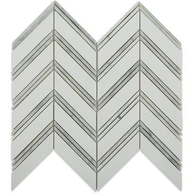 Soho Studio Corp Chevron Weave Mosaic Thassos With Bianco