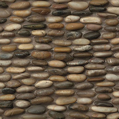 Bedrosians Hemisphere Stacked Pebble Mosaic Polished Kona Sands
