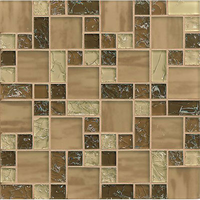 Bedrosians Ice Crackle Pattern Mosaic Brown