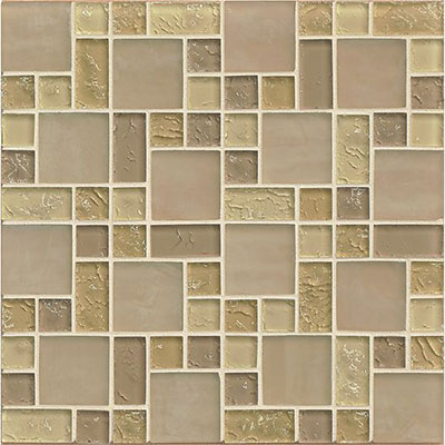 Bedrosians Ice Crackle Pattern Mosaic Cream