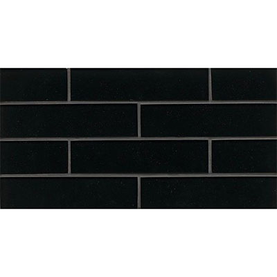 Bedrosians Manhattan Glass Mosaic 2 x 8 Gloss Midnight