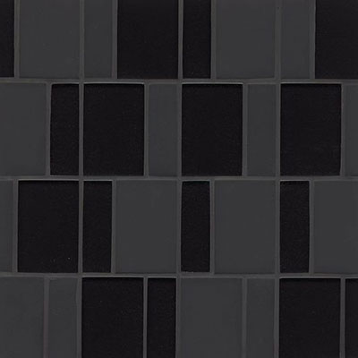 Bedrosians Manhattan Glass Mosaic Brick Pattern Midnight
