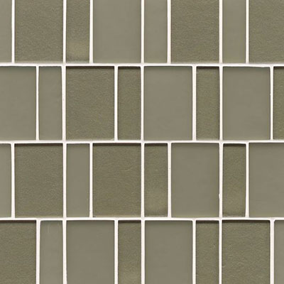 Bedrosians Manhattan Glass Mosaic Brick Pattern Mint