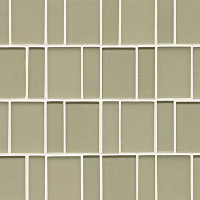 Bedrosians Manhattan Glass Mosaic Brick Pattern Pistachio