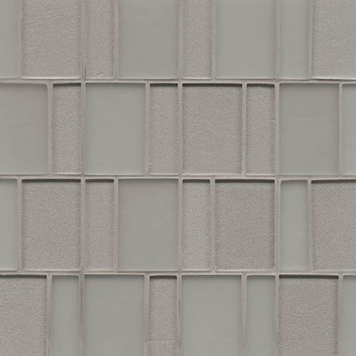 Bedrosians Manhattan Glass Mosaic Brick Pattern Platinum
