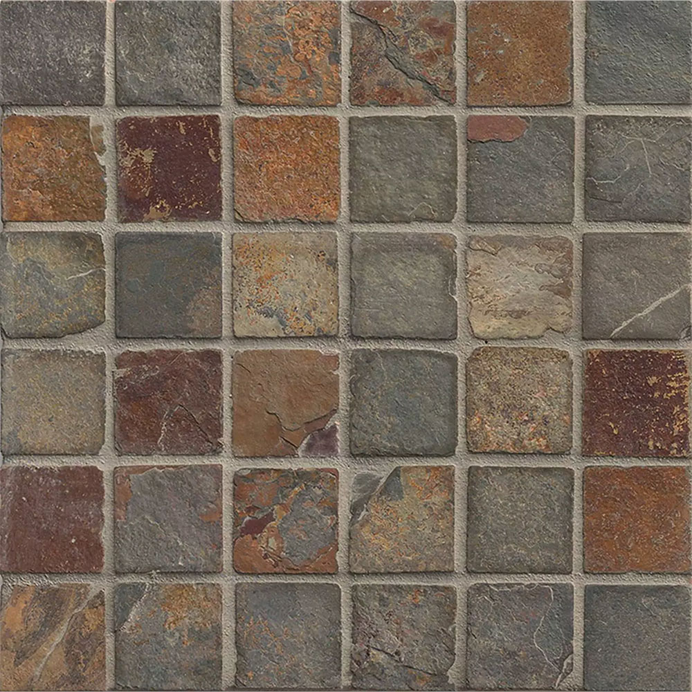 Tilecrest Slate Stone Mosaic 2 X 2 Butterscotch Tumbled
