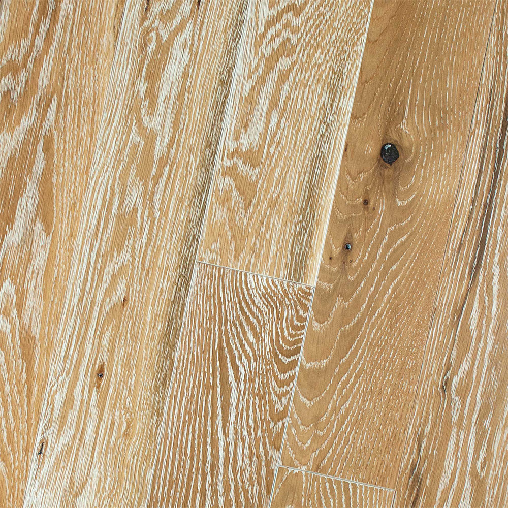 HomerWood Premium Wire Brushed 4 White Oak Natural White Limed